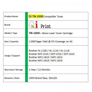 Brother TN1000 1110 HL1100 1110 Toner Compatible (Black)