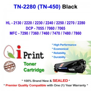 Qi Print Brother TN2280 TN450 HL2130 7360 Toner Compatible (Black)