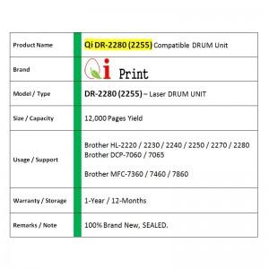 Qi Print Brother DR2225 HL2130 2280 MFC7460 7860 DRUM Compatible (DRUM)