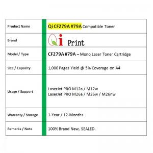Qi Print HP CF279A 79A M12 M12w M26 M26nw Toner Compatible (Black)