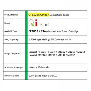 Qi Print HP CE285A 85A For HP P1102 M1132 Canon CRG 325 Toner Compatible (2 Units)