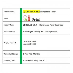 Qi Print HP CB435A 35A For HP P1005 P1006 Canon CRG 312 Toner Compatible (2 Units)
