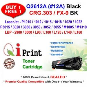 Qi Print HP Q2612A 12A For HP P1020 P3050 Canon CRG 303 Toner Compatible (2 Units)