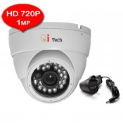 "CCTV HD 720P 1MP 1/3"" Infra Red Dome Camera Support Night Vision (Qi Tech - White)"