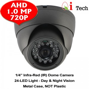 CCTV HD 720P 1MP 1/3 Infra Red Dome Camera Support Night Vision (Dark Grey)