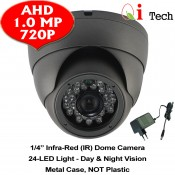 CCTV AHD 1/4 Infra Red Dome Camera w/ HD 720P 1MP (Dark Grey)