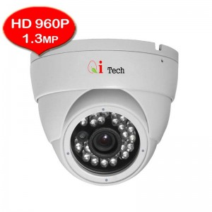 CCTV HD 960P 1.3MP 1/3 Infra Red Dome Camera Support Night Vision (Qi Tech - White)