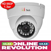 CCTV HD 1.3MP 1/3 Infra Red Dome Camera with HD 960P/960H (White)