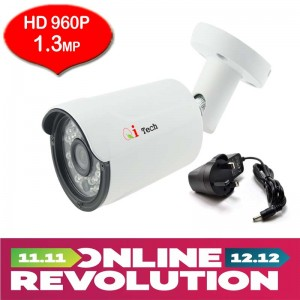 CCTV HD 1.3MP 1/3 Infra Red Bullet Out Door Camera with HD 960P/960H (White)