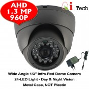 CCTV AHD 1/3 Infra Red Dome Camera w/ HD 960H 1.3MP (Dark Grey)