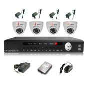 CCTV 4-CH A-HD DVR Recorder with Infra Red Camera Package (White)