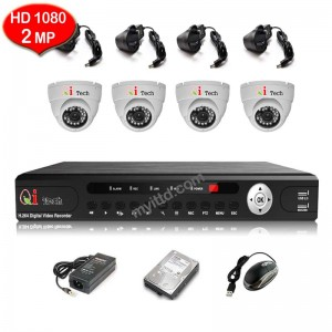 CCTV 4-CH HD DVR 960P/1080P with 1.3MP/2MP Infra Red Dome Camera (White)
