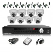 CCTV 8-CH A-HD DVR Recorder with Infra Red Camera Package (White)
