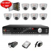 CCTV 8-CH HD DVR 960P/1080P with 1.3MP/2MP Infra Red Dome Camera (White)