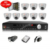 CCTV 8-CH HD DVR Recorder with Infra Red Camera Package (White)