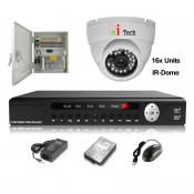 CCTV 16-CH A-HD DVR Recorder with Infra Red Camera Package (White)