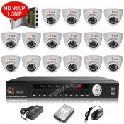 CCTV 16-CH HD DVR 960P/1080P with 1.3MP/2.0MP Infra Red Dome Camera (White)