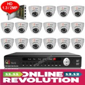 CCTV 16-CH 960P HD DVR Recorder with 1.3MP Infra Red Camera Package (White)
