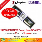 Kingston DDR2 RAM 2GB 800MHz PC6400 Desktop PC RAM (KVR800D2N6/2G)