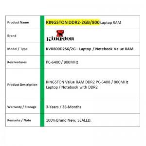 Kingston DDR2 RAM 2GB 800MHz PC6400 Laptop Notebook RAM (KVR800D2S6/2G)