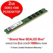 Kingston DDR3 RAM 2GB 1066MHz PC8500 Desktop PC RAM (KVR1066D3N7/2G)