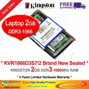 Kingston DDR3 RAM 2GB 1066MHz PC8500 Laptop Notebook RAM (KVR1066D3S7/2G)