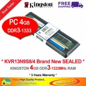 Kingston DDR3 RAM 4GB 1333MHz PC10600 Desktop PC RAM (KVR13N9S8/4G)