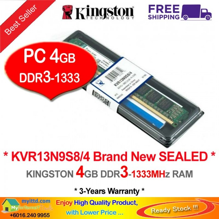 Kingston DDR3 RAM 4GB 1333MHz PC10600 Desktop PC RAM (KVR13N9S8/4G)