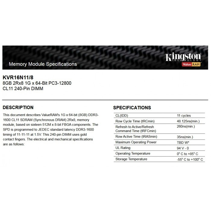 Kingston DDR3 RAM 8GB 1600MHz PC12800 Desktop PC RAM (KVR16N11/8G)