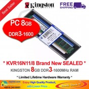 Kingston DDR3 RAM 8GB 1600MHz PC12800 Desktop PC RAM (KVR16N11/8G)