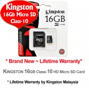 Kingston 16GB Micro SDHC Class 10 Flash Memory Card