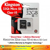 Kingston 32GB Micro SD Class-10 Memory Card with Adapter (SDSC10/32G)