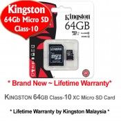 Kingston 64GB Micro SDHC Class 10 Flash Memory Card