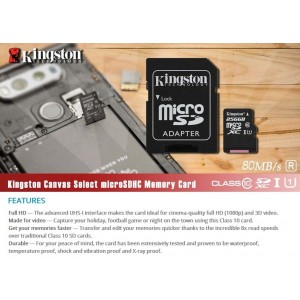 Kingston 64GB Micro SD Class-10 Memory Card with Adapter (SDSC10/64G)