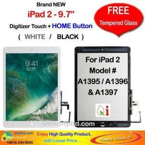 "Apple iPad 2 - 9.7"" A1395 A1396 A1397 Touch Screen Digitizer (FREE Temper Glass)"