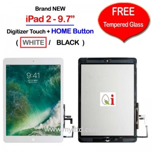 "Apple iPad 2 - 9.7"" A1395 A1396 A1397 Touch Screen Digitizer (FREE Temper Glass)"