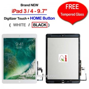 "Apple iPad 3 & 4 - 9.7"" A1416 A1430 A1458 Touch Screen Digitizer (FREE Temper Glass)"