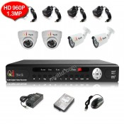 CCTV 4-CH HD DVR 960P/1080P with 1.3MP/2MP Infra Red Camera Package (White)