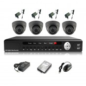 CCTV 4-CH A-HD DVR Recorder with Infra Red Camera Package (Grey)