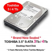"Toshiba 3.5"" Desktop S-ATA Hard Disk Drive For CCTV DVR Recorder (3Tb / 4Tb)"