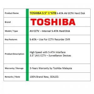 "Toshiba 3.5"" S-ATA Desktop Hard Disk Drive 3Tb / 4Tb (AV)"