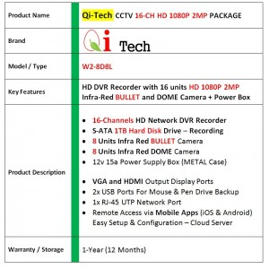 CCTV 16-CH HD DVR 960P/1080P with 1.3MP/2MP Infra Red Camera Package (White)
