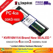 Kingston DDR3 RAM 4GB 1600MHz PC12800 Desktop PC RAM (KVR16N11/4G)
