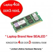 Kingston DDR3 RAM 4GB 1600MHz PC12800 Laptop Notebook RAM (KVR16LS11/4G)