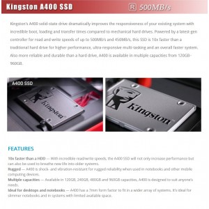"Kingston SSD 480GB SATA-III 2.5"" Solid State Drive (SA400S37/480G)"