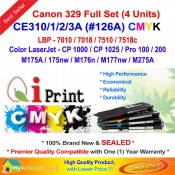 Qi Print Canon Cartridge CART 329 LBP 7010C 7018C Color Laser Full Set (4 Units)