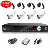 CCTV 4-CH HD DVR 960P/1080P with 1.3MP/2MP Infra Red Bullet Package (White)