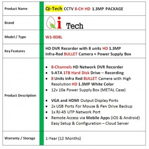 CCTV 8-CH HD DVR 960P/1080P with 1.3MP/2MP Infra Red Bullet Package (White)