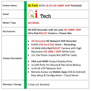 CCTV 16-CH HD DVR 960P/1080P with 1.3MP/2.0MP Infra Red Bullet Package (White)