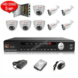 Qi Tech CCTV 8-CH HD DVR with 5MP 2560P Infra Red Camera Package (White)